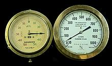 2 Large Brass Ships Gauges