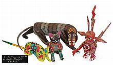 4 Pcs. Oaxaca Mexican Folk Art Carving Lot