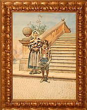 Manuel Ramirez-Ibanez (1856-1925) Watercolor Painting of Woman & Child