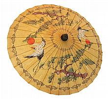 Vintage Japanese Sun Crane Umbrella