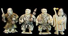 (4) Pcs. Japanese Carved Ivory Netsuke Lot #2
