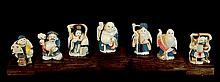 7 Signed Japanese Carved Ivory Immortals w/Stand