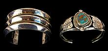 Native American Turquoise Sterling Cuff Bracelet PAIR