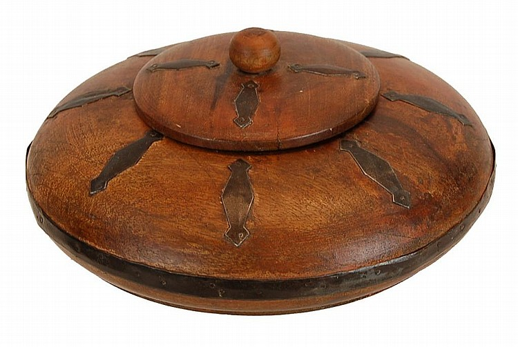 Antique Wood & Iron Strap Oval Box