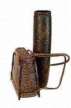 PAIR Vintage African Woven Bag & Drum
