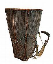 Vintage Asian Head & Shoulder Strap Burden Basket