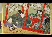 Japanese Meiji Period Erotic Shunga Scroll