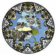 Vintage Asian Cloisonne Crane Turtle Plate