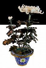 Vintage Chinese Carved Flower & Cloisonne Pot