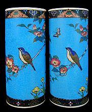 PAIR Japanese Cloisonne on Porcelain Vase Lot