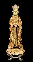 Vintage Asian Carved Wood Sage Figure & Stand