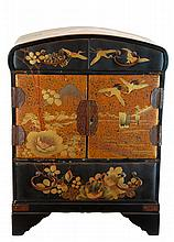 Vintage Chinese Black Lacquer Crane Jewelry Box
