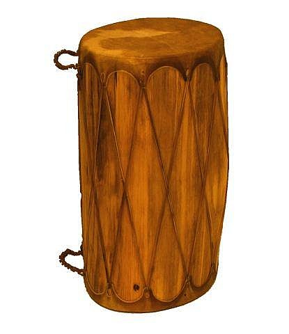 Native Drum, made from a carved log, leather heads
