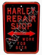 Harley Repair Shop Tin Sign