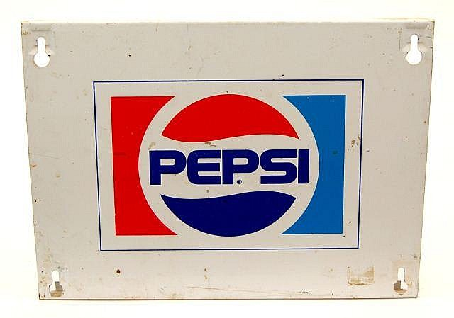 Vintage Pepsi Square Tin Ad Sign