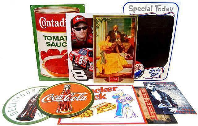 Reproduction Vintage Tin Signs w/ Coca-Cola