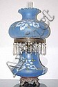 Chicago Brothel Hand Painted Blue Satin Glass Lamp