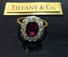 Vintage Tiffany & Co.18k Ruby 2ct Diamond Ring With Gia