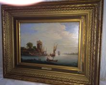Oil on Board Castle and Boat by A.P Luigt