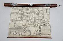 Plan de la 'bataille d'Oudenaarde 1708' dans un écrin en bois incrusté d'ivoire (70cm)