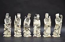 Six sages et enfants en ivoire (h23)