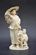 Sculpture chinoise en ivoire '2 jeunes' (h18)