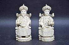 Paire de statues en ivoire 'empereur et imperatrice' (h16)