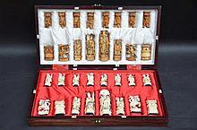 Jeu d'échecs chinois avec personages en ivoire