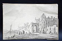 Jan Van Goyen (attribué et monogramme): dessin 'vue d'une ville' (17,5x27)
