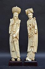 Paire de grandes statues chinoises en ivoire 'empereur et imperatrice' (h50