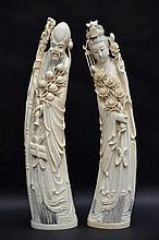 Paire de sculptures chinoises en ivoire (h51)