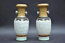 Paire de vases en porcelaine de Nankin (h25)