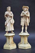 Paire de sculptures en ivoire, Dieppe (h. tot. 25)