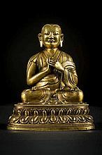 Lama en bronze doré, Sino-Tibetan ou Mongolien (h 20)