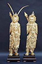 Paire de grandes sculptures chinoises en ivoire (h55)(*)
