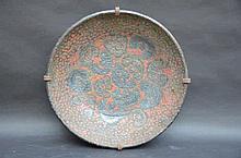Grand plat en decorative en faience (dia55)