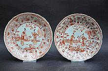 Paire d'assiettes en porcelaine de Chine 'dames' (dia22,5)