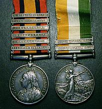Queen's & King's South Africa Medal pair Queen's South Africa 1899-1902, six bars Relief of Kimberle