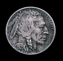 USA Five Cents Indian head 1920D Breen 2614 Fine