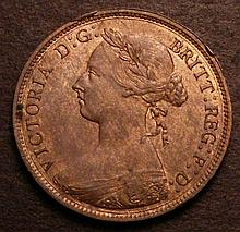Halfpenny 1883 Freeman 351 dies 19+S A/UNC with subdued lustre and a spot on either side, the obvers