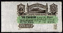 Banknotes: South Africa 5 Pounds unissued remainder Cape of Good Hope Montagu Bank  dated 18xx (1880