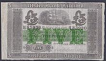 Banknotes: Ireland Ulster Bank Limited £5 dated 1st May 1918 series H.83930, manuscript signature R.