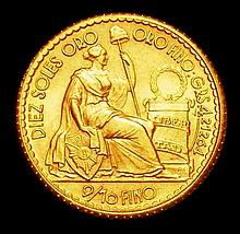 Coins: Peru 10 Soles 1957 KM#236 UNC and lustrous