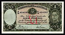 Banknotes: Australia One Pound Commonwealth Bank of Australia 1938 Sheehan and McFarlane blue signat