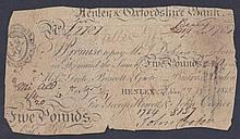 English Banknotes: Henley & Oxfordshire Bank £5 dated 1818 for George Hewett & John Cooper (Outing 9