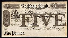 English Banknotes: Rochdale Bank £5 unissued, 1830s  for Clement, Royds & Company EF
