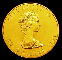Coins: Canada Fifty Dollars 1981 1 ounce gold Maple Unc