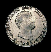 Coins: Mexico - Empire of Iturbide 8 Reales 1823Mo JM KM#310 About Fine with some graffiti on the re
