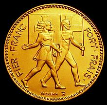 Commemorative and Campaign Medals: Switzerland Gymnastics Medal 1951 33mm diameter in gold by Huguen