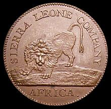 Coins: Sierra Leone Cent 1791 KM#1 Proof nFDC nicely toned, Rare